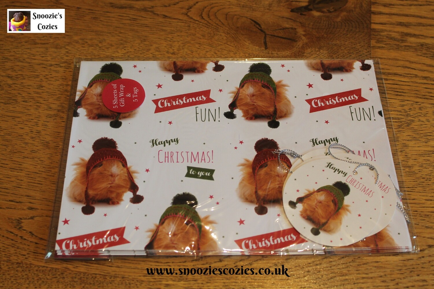 GUINEA PIG CHRISTMAS WRAPPING PAPER - 5 sheets & 5 tags FREE UK P&P