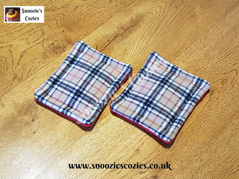 Waterproof Bottle Pads (PAIR) -  Beige Tartan/Red FREE UK P&P