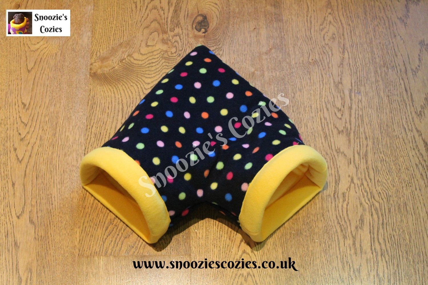 Corner Cozie - Black Multi-Spot/Yellow