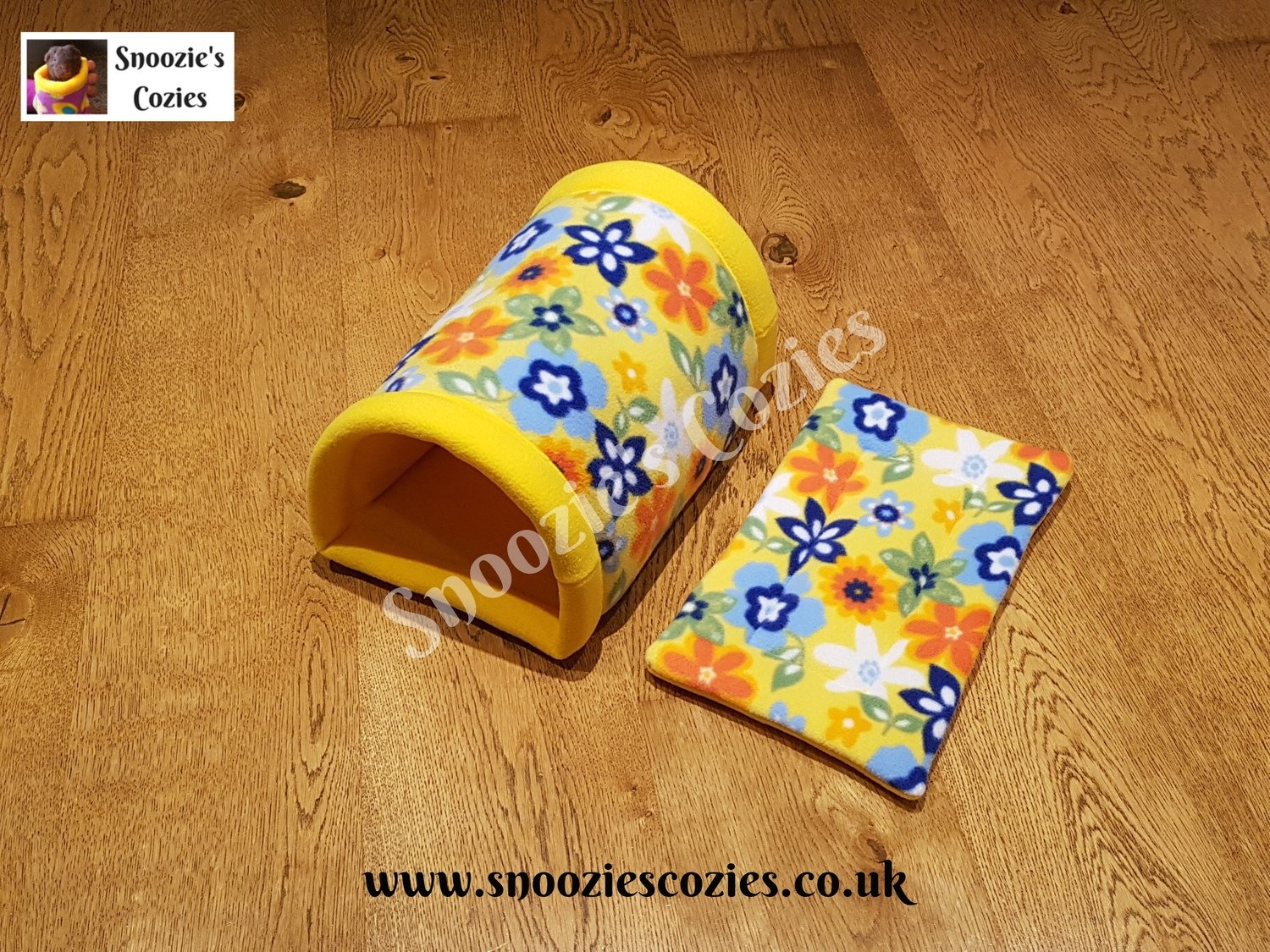 Double Tunnel with Matching Reversible Piggy Pad - Yellow Flowers/Yellow