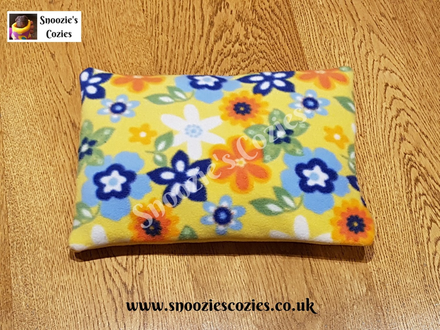 Reversible Piggy Pillow -  Yellow Flowers/Yellow