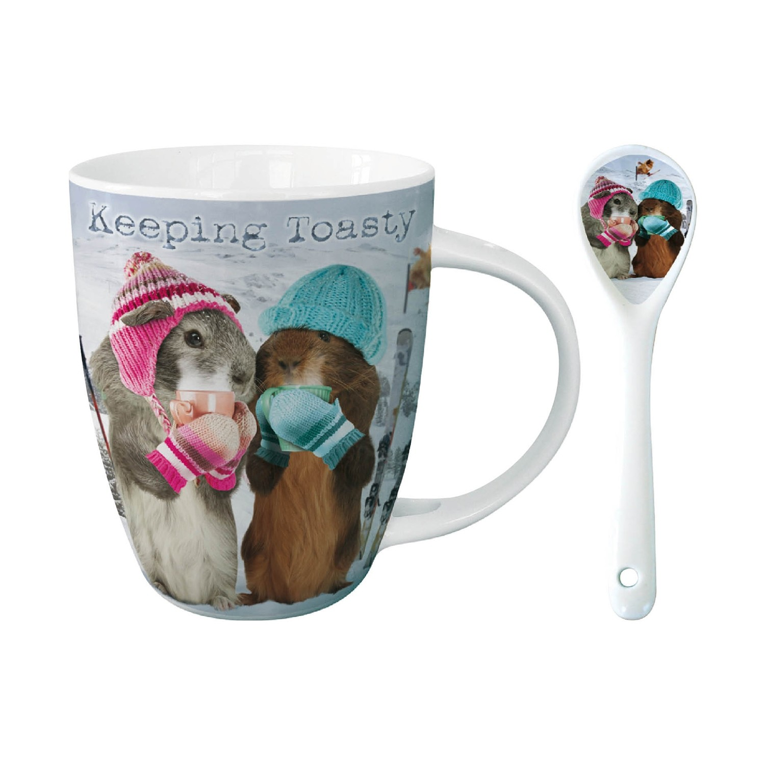 GUINEA PIG KEEPING TOASTY HOT CHOCOLATE MUG with matching spoon