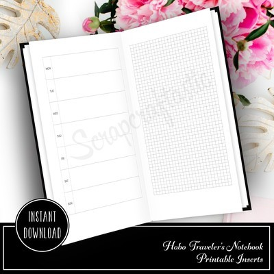 HOBO Style Traveler's Notebook Printable Planner Insert