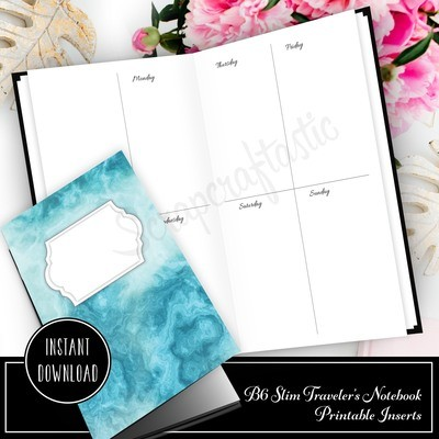 B6 SLIM TN - Basic Week On Two Pages (WO2P) Traveler's Notebook Printable Planner Inserts