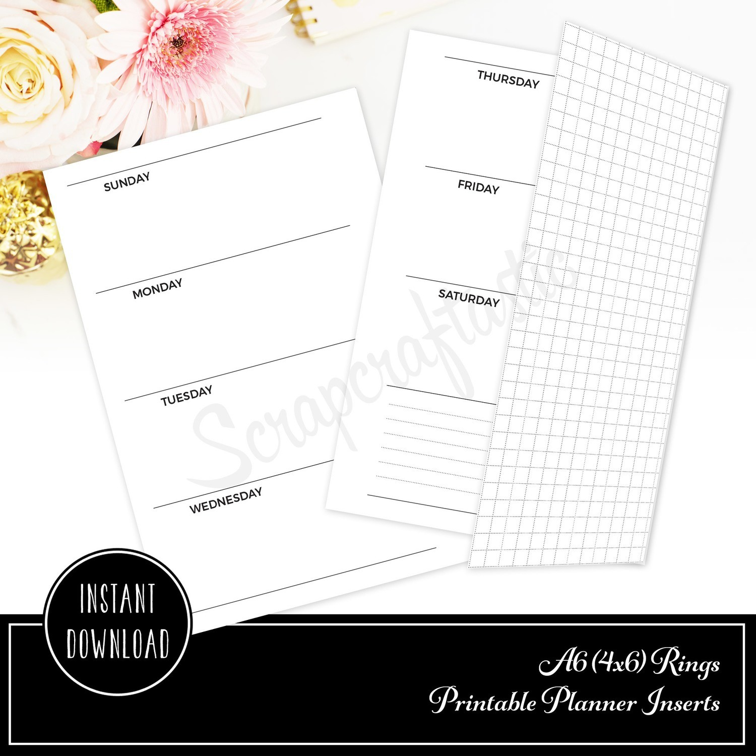 A6 RINGS - Horizontal Week On Two Pages  with Grid Tip-In Printable Planner Inserts Undated Sunday Start
