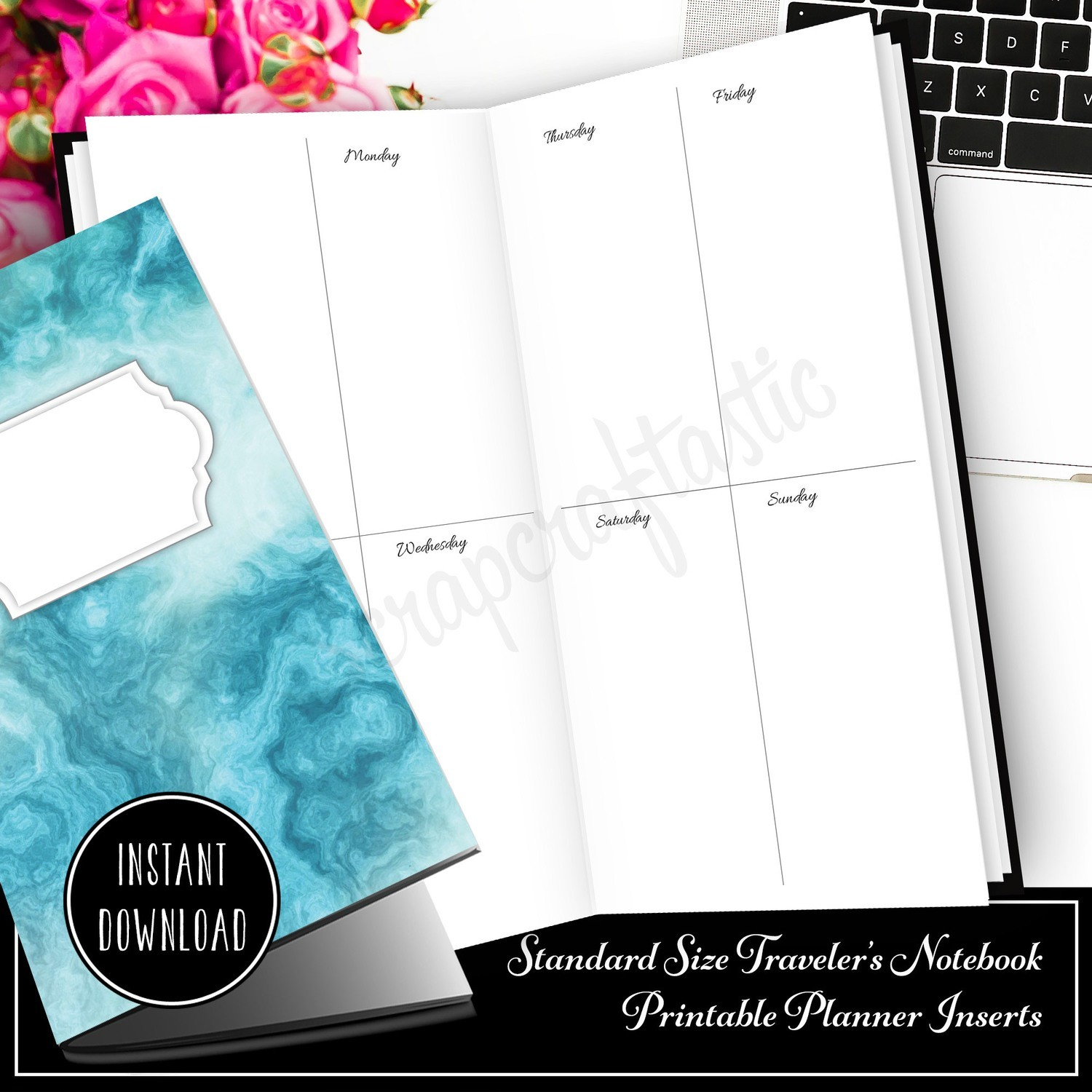 STANDARD TN - Basic Week On Two Pages (WO2P) Traveler's Notebook Printable Planner Inserts