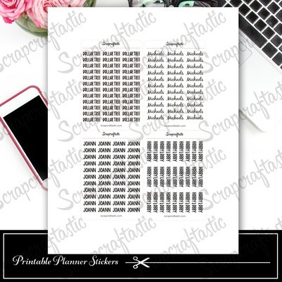 FREE Favorite Store Word Printable Planner Stickers