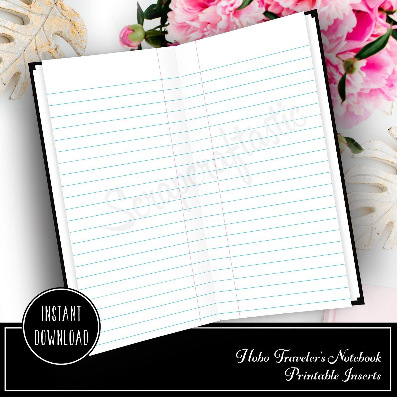 HOBO TN - Notebook Paper Lined Rings Printable Insert