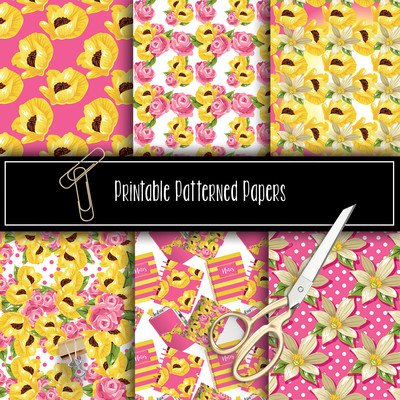 Spring Florals Printable Patterned Papers Collection