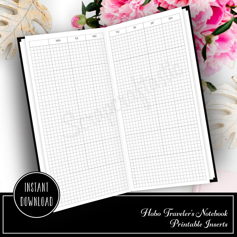 HOBO Style Monday Start Traveler's Notebook Monthly Printable Planner Insert