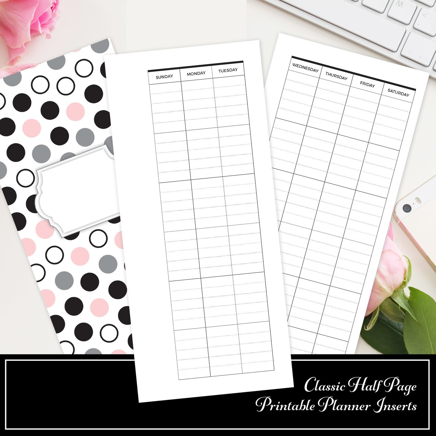 graphic relating to Printable Planner Inserts identified as Regular Fifty percent SHEET - Covered Undated Regular monthly Printable Planner Increase