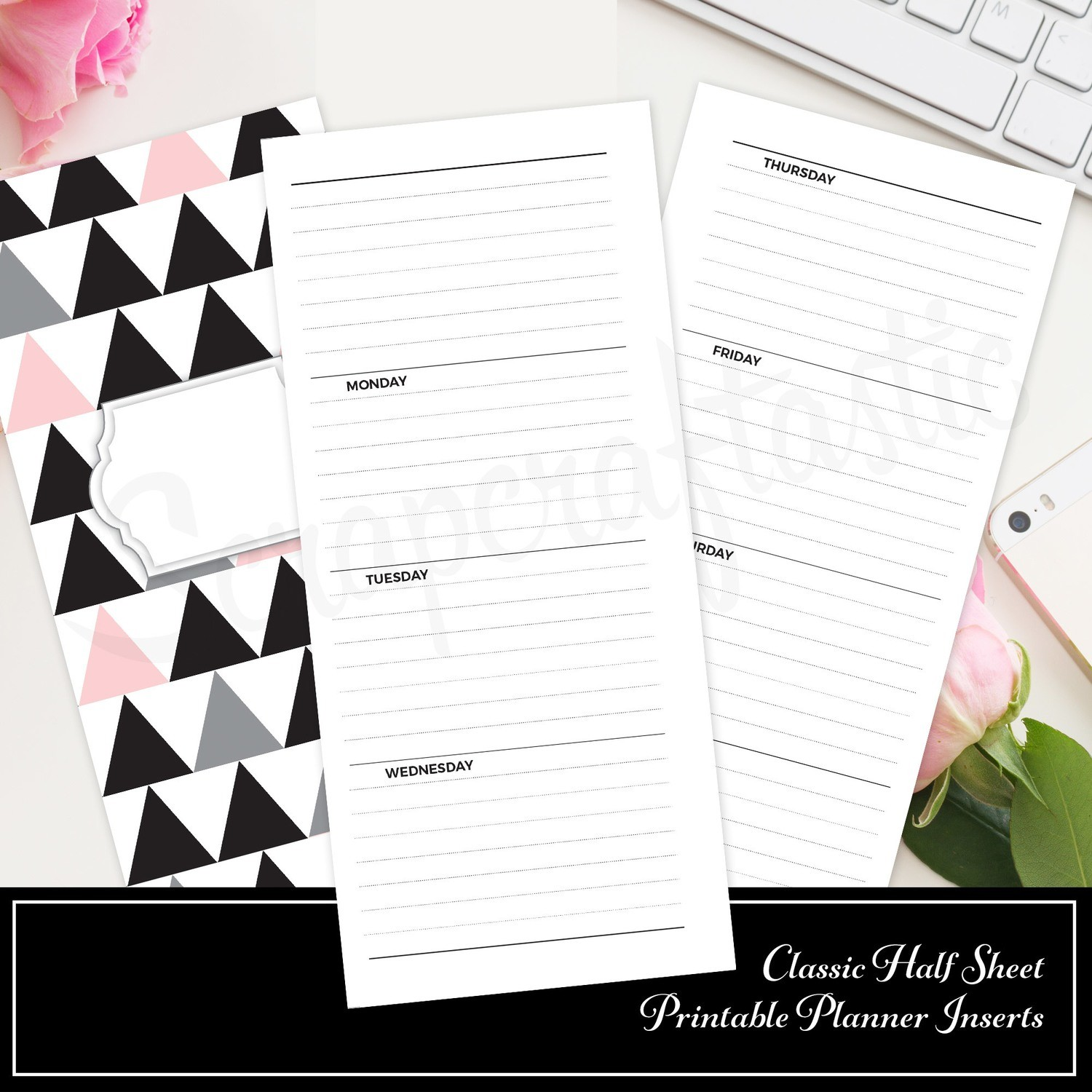 CLASSIC HALF SHEET - Horizontal Lined Undated Weekly Printable Planner Insert