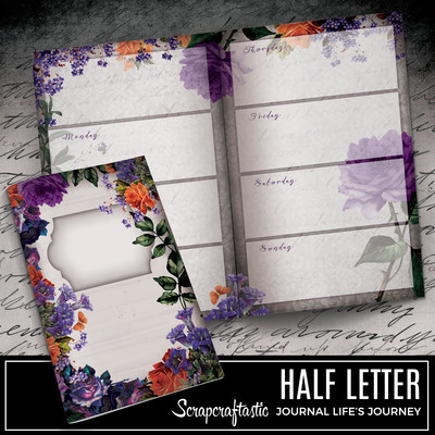 HALF LETTER - Serene Floral Vintage Printable Undated Weekly Journal