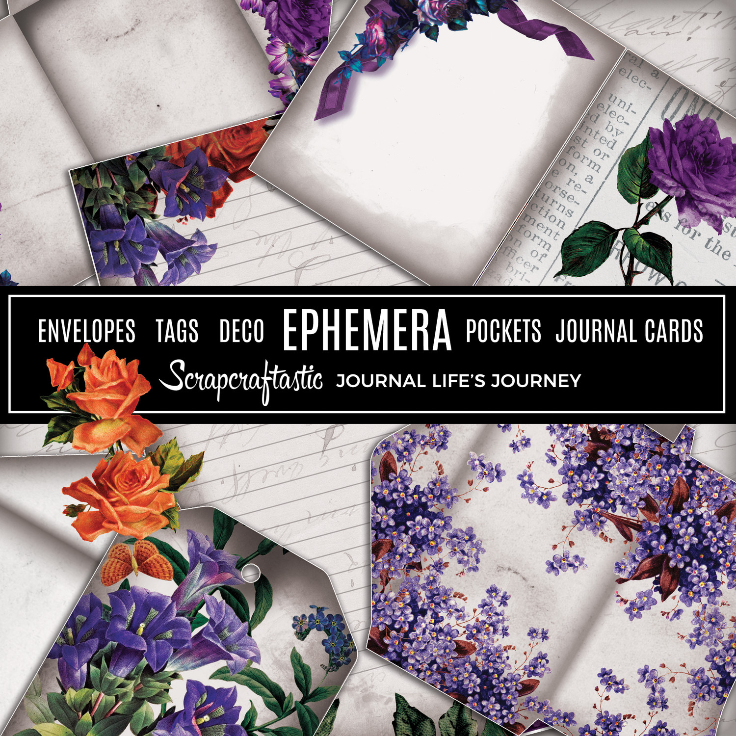 Serene Floral Vintage Digital Printable Journal Ephemera, Envelopes, Tags, Deco, Pockets, Journal Cards