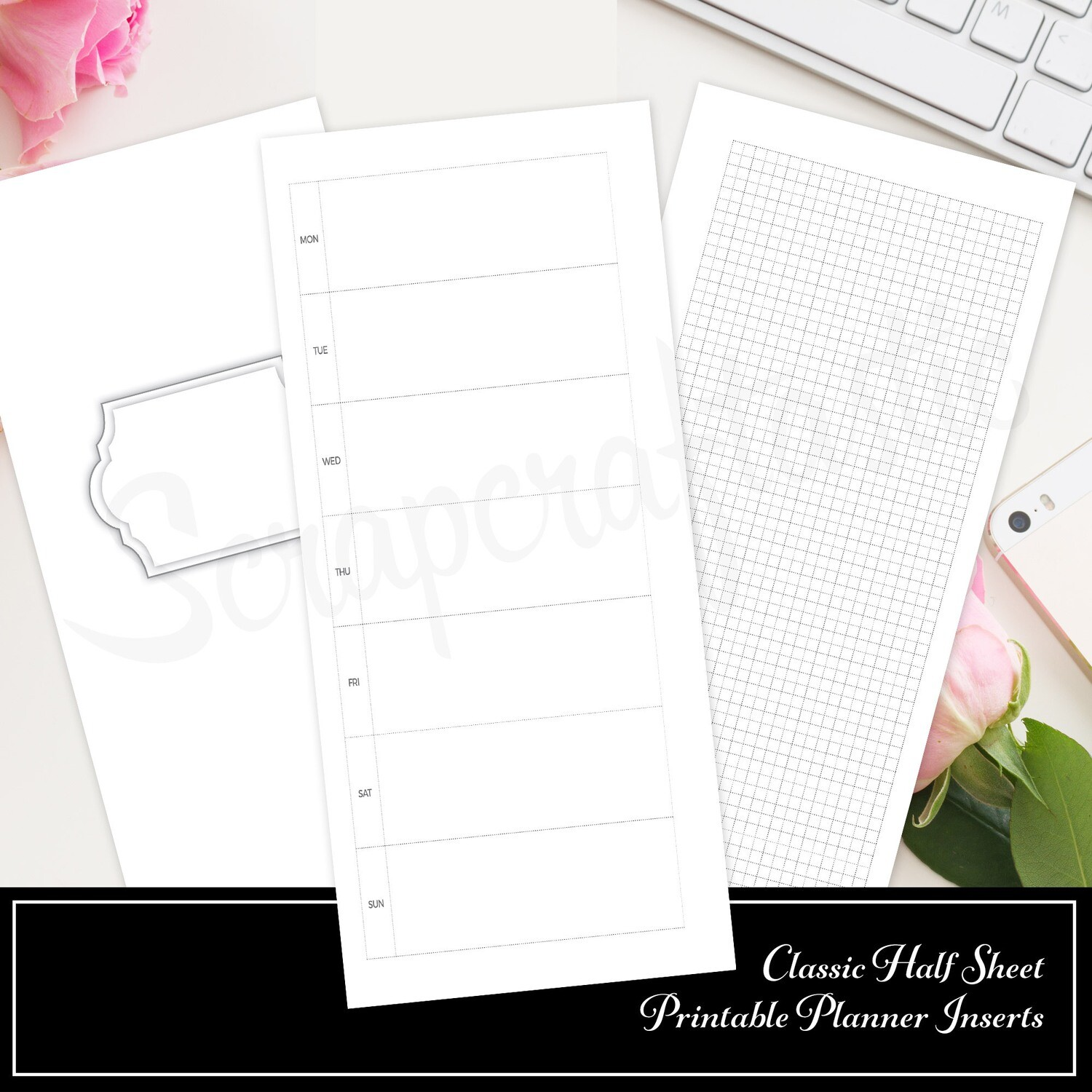 image about Weekly Printable Planner referred to as Regular 50 % SHEET - Hobo Style and design Undated Weekly Printable Planner Add