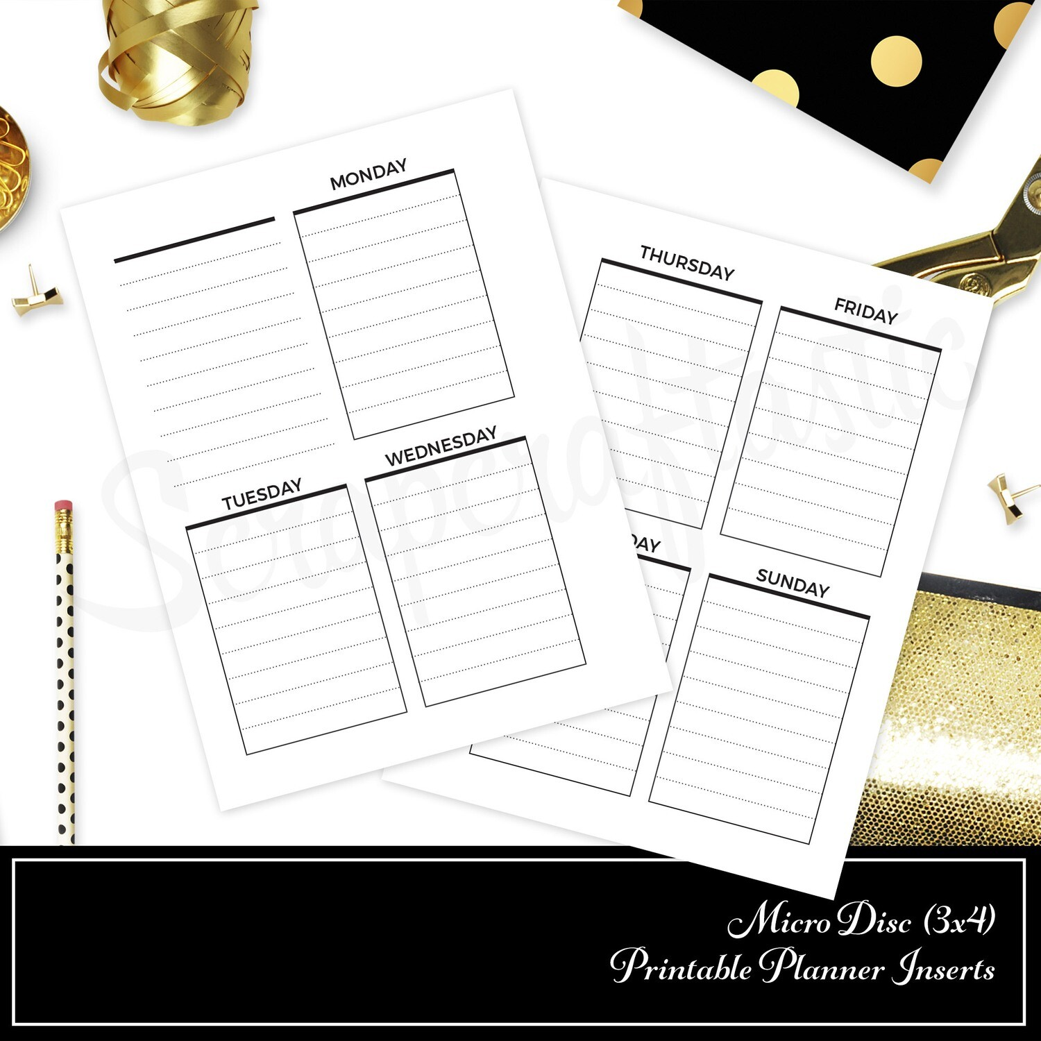 graphic regarding Printable Planner Inserts identified as MICRO DISC - Vertical Coated Undated Weekly Printable Planner Incorporate