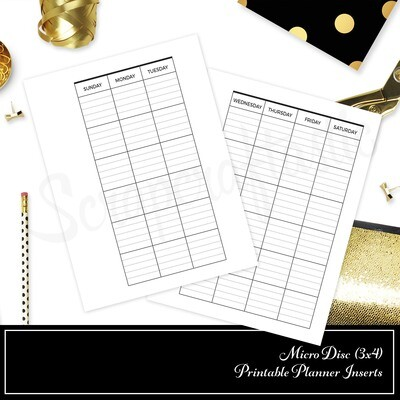 MICRO DISC - Lined Undated Monthly Printable Planner Insert