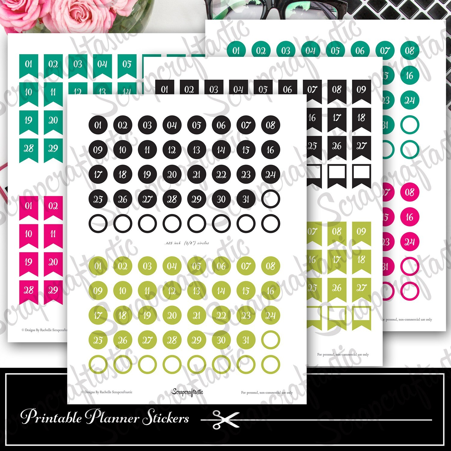Planner Pro DIY Calendar, List and Monthly Challenge Numbered Printable Planner Stickers for paper planners, binders, inserts
