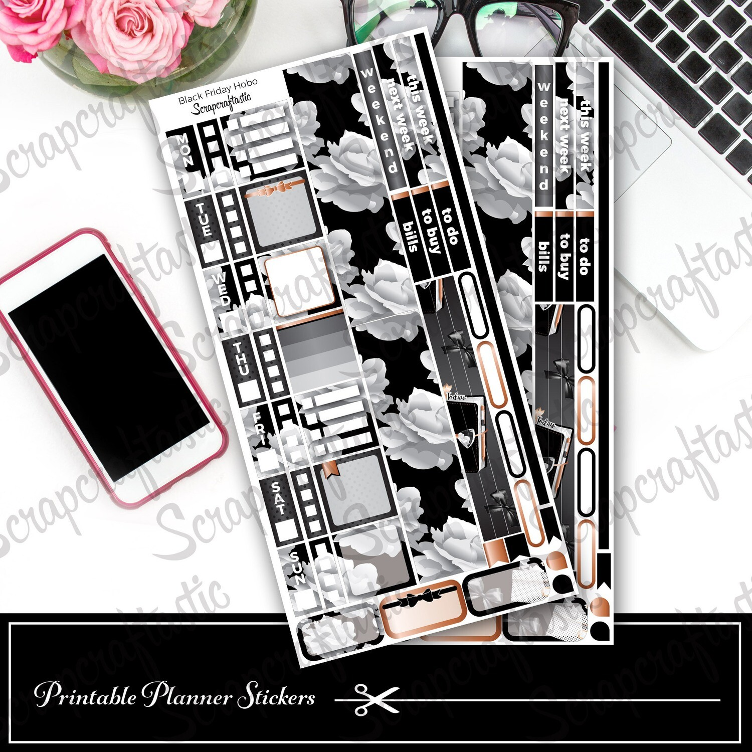 Black Friday Hobo Printable Planner Stickers