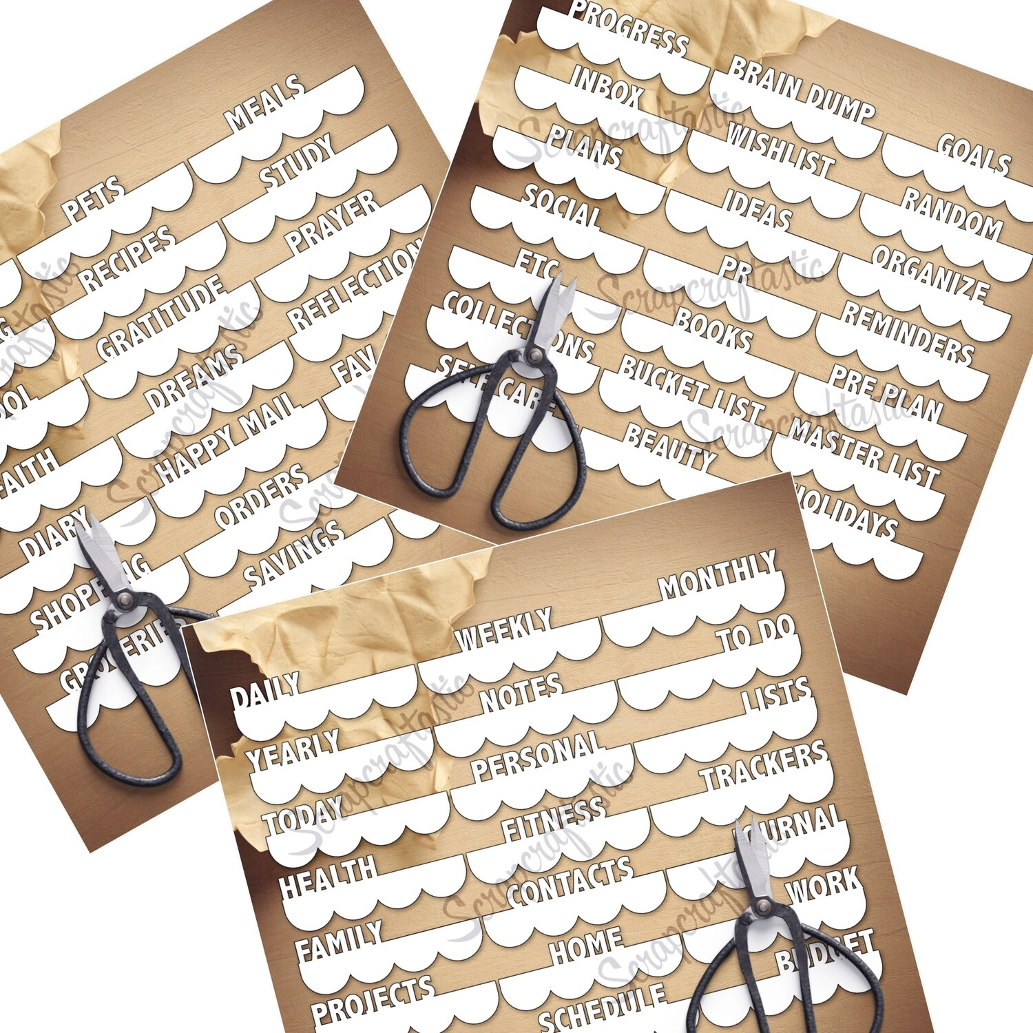 BUNDLE - 3 Inch Scalloped Edge Word Tabs SVG and Studio Cut Files - Set 1, 2 and 3 Planner Life