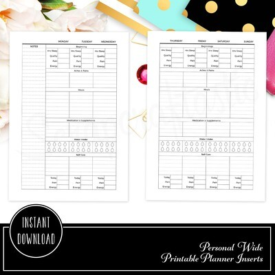 PERSONAL WIDE RINGS - Health and Wellness Weekly Printable Planner Insert