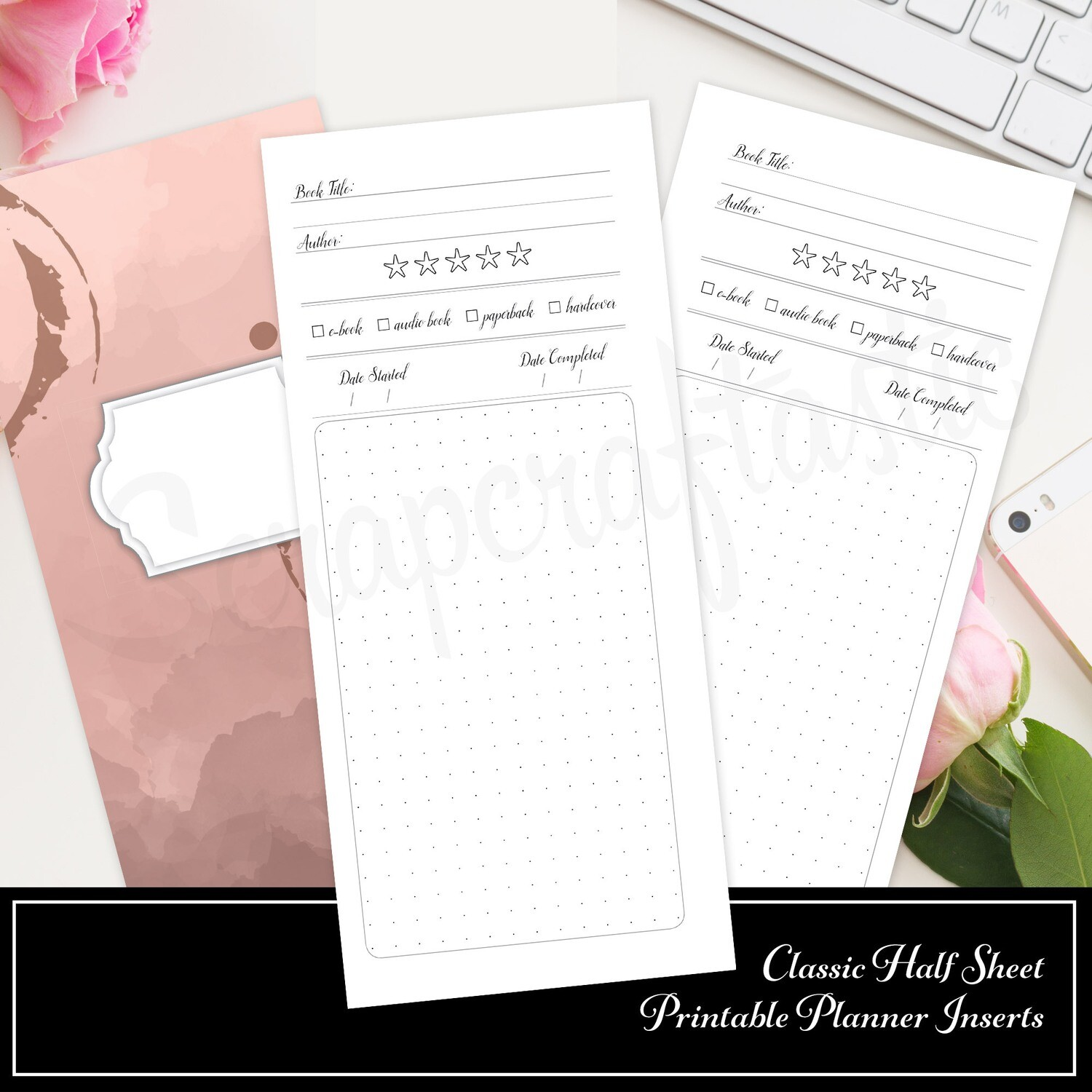 CLASSIC HALF SHEET - Book / Reading Log and Review Printable Insert