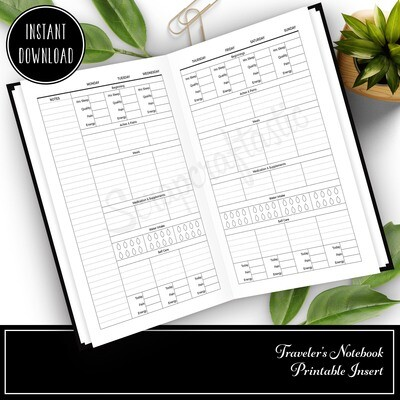 A6 TN - Health and Wellness Weekly Traveler's Notebook Printable Planner Insert