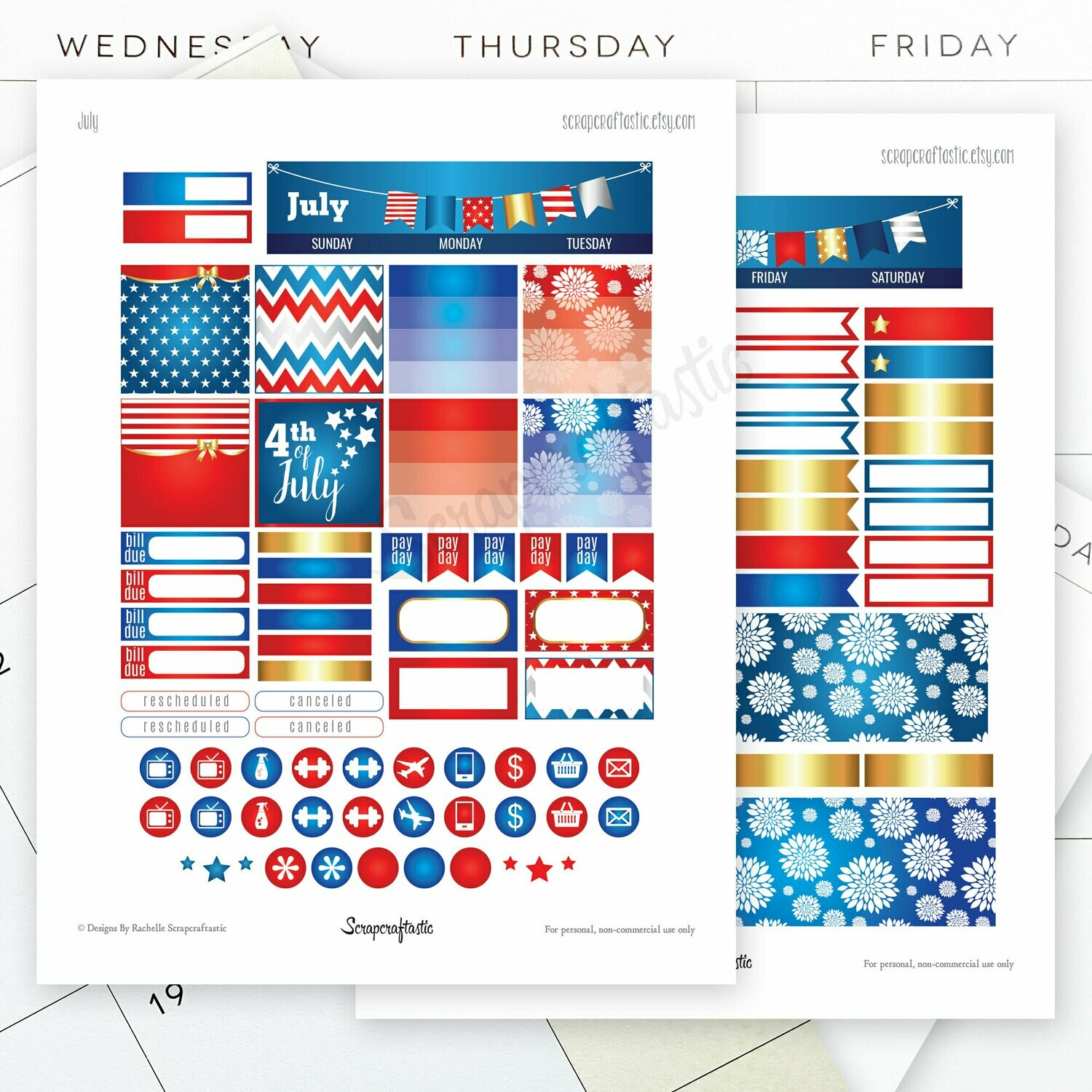 July Month View Printable Planner Stickers for the Classic MAMBI Happy Planner