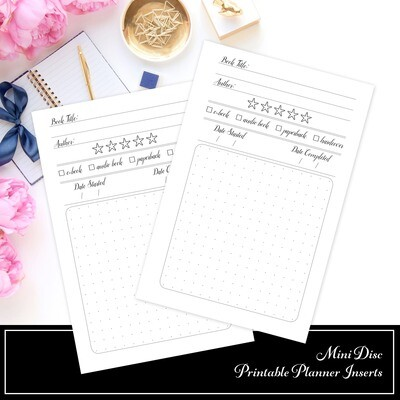 MINI DISC - Reading Log Book Review Printable Planner Inserts
