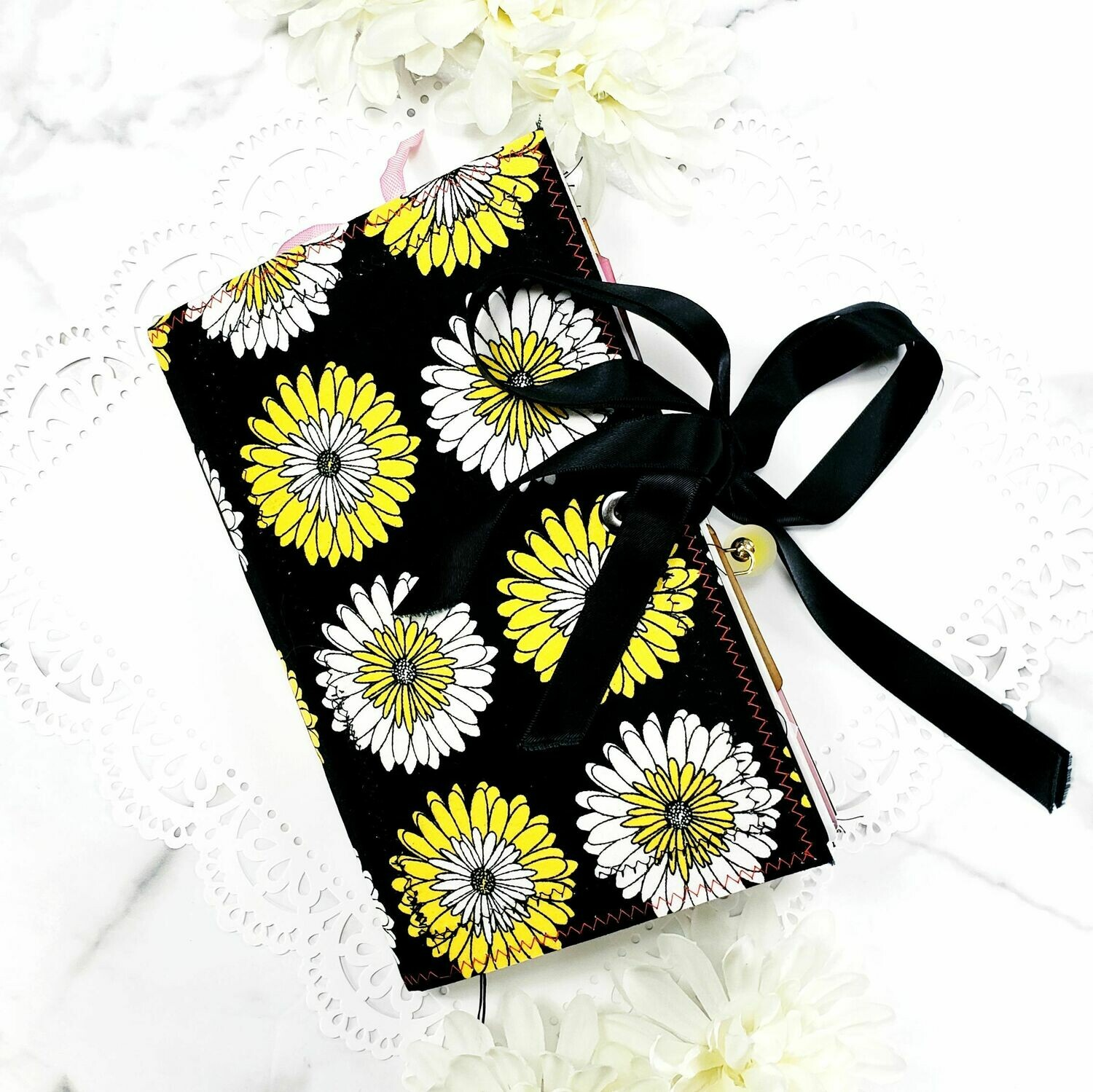 Yellow and Black Floral Fabric Cover Junk Journal