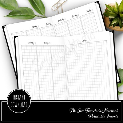 Deluxe Week on Four Pages (WO4P) Grid B6 Traveler's Notebook Printable Inserts