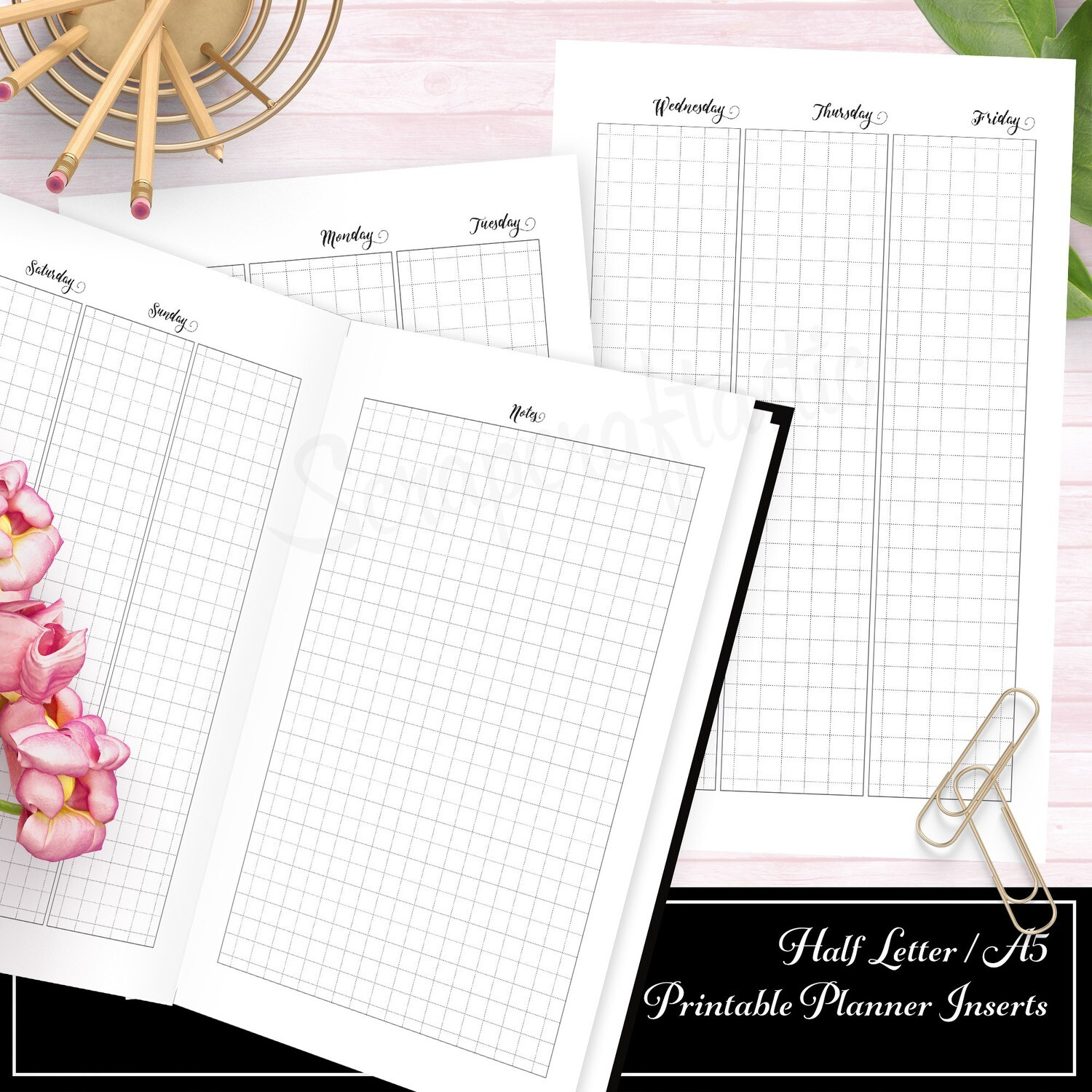 HALF LETTER A5 RINGS/DISC - Deluxe Week on Four Pages (WO4P) Grid Printable Insert