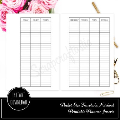 POCKET RINGS - Lined Month on Two Pages MO2P Ring Binder Printable Insert Refill Undated