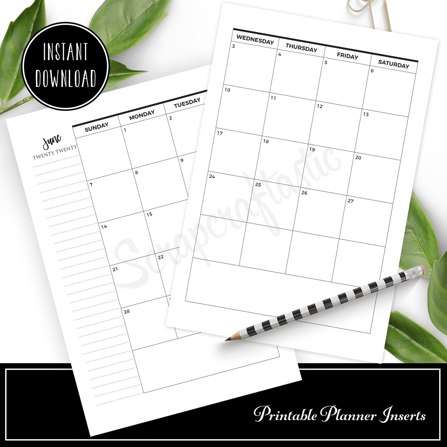PERSONAL WIDE - 2020 Dated Monthly Calendar Printable Planner Inserts