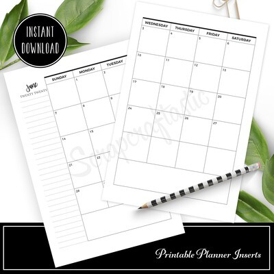 B6 - 2020 Dated Monthly Calendar Printable Planner Inserts