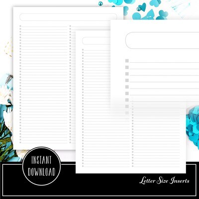 FULL PAGE LETTER SIZE - Checklist Printable Planner Inserts