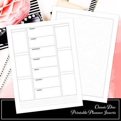 CLASSIC - Week On One Page Double Columns and Grid Printable Planner Inserts