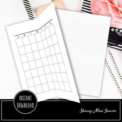 SKINNY MINI - Undated Month On One Page Foldout and Grid Printable Planner Inserts