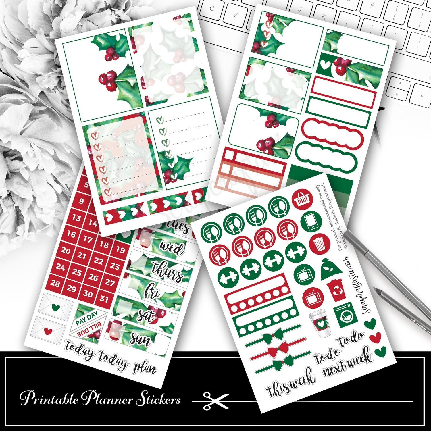 Christmas Holly and Berries Mini Kit Printable Planner Stickers