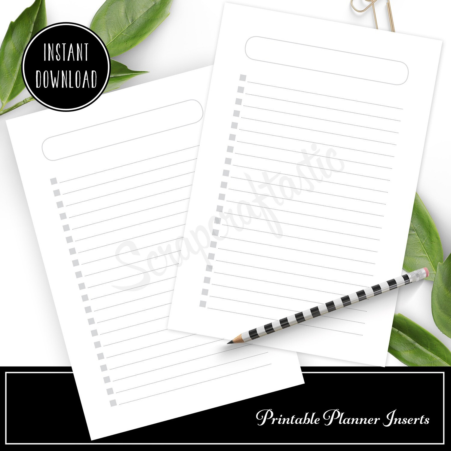 PERSONAL WIDE - Checklist Printable Planner Inserts