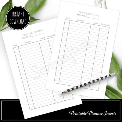 CLASSIC - Transactions Budget Printable Planner Inserts