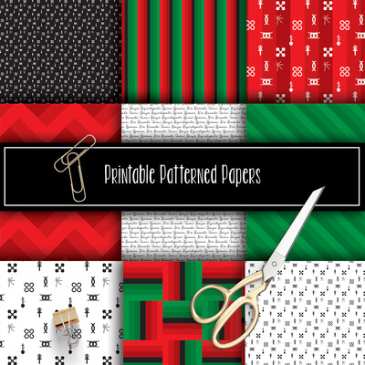 KWANZAA Printable Patterned Papers Collection
