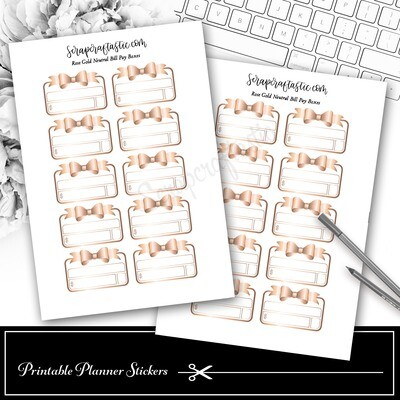Neutral Metals Rose Gold Bow Bill Pay Budget Printable Planner Stickers