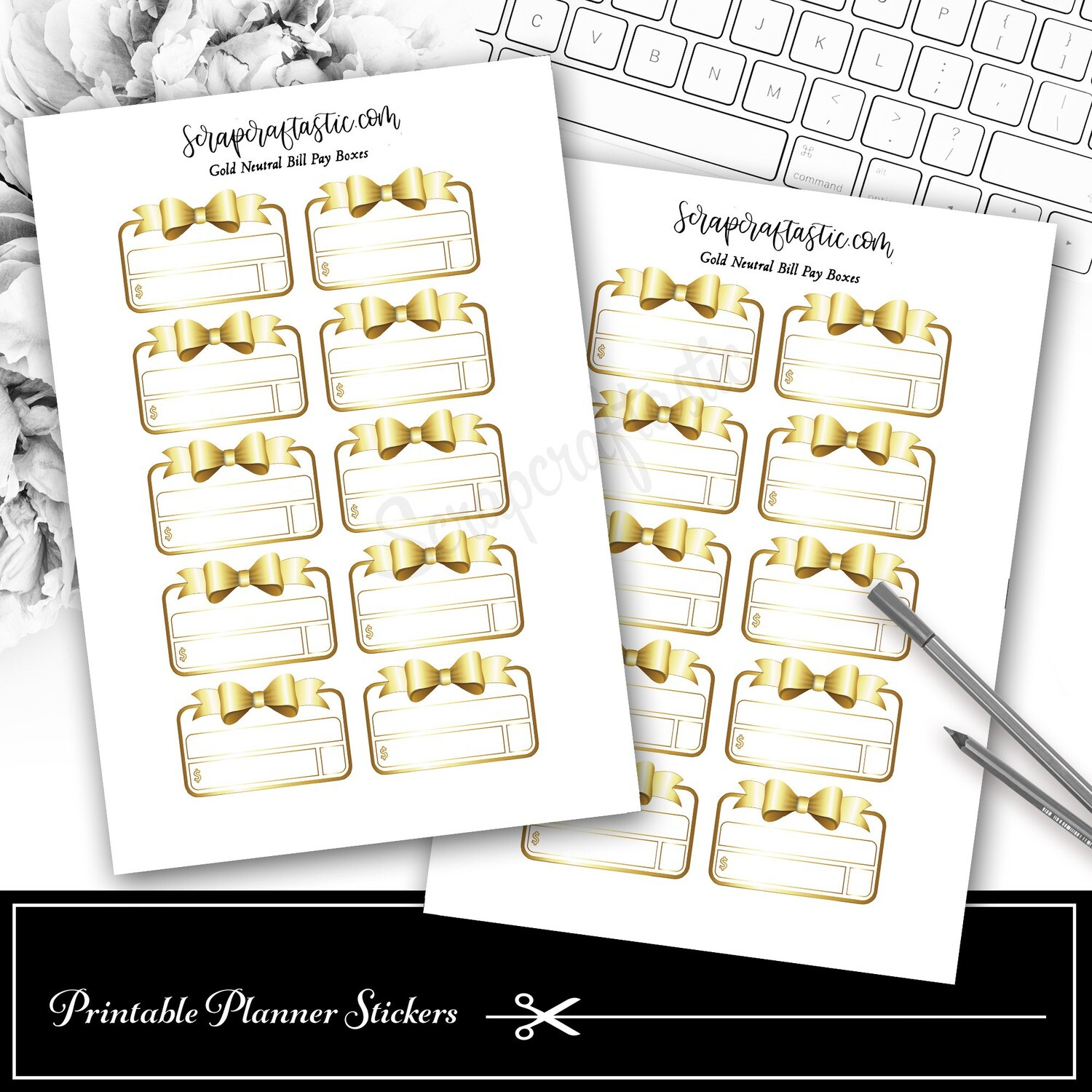 Neutral Metals Gold Bow Bill Pay Budget Printable Planner Stickers