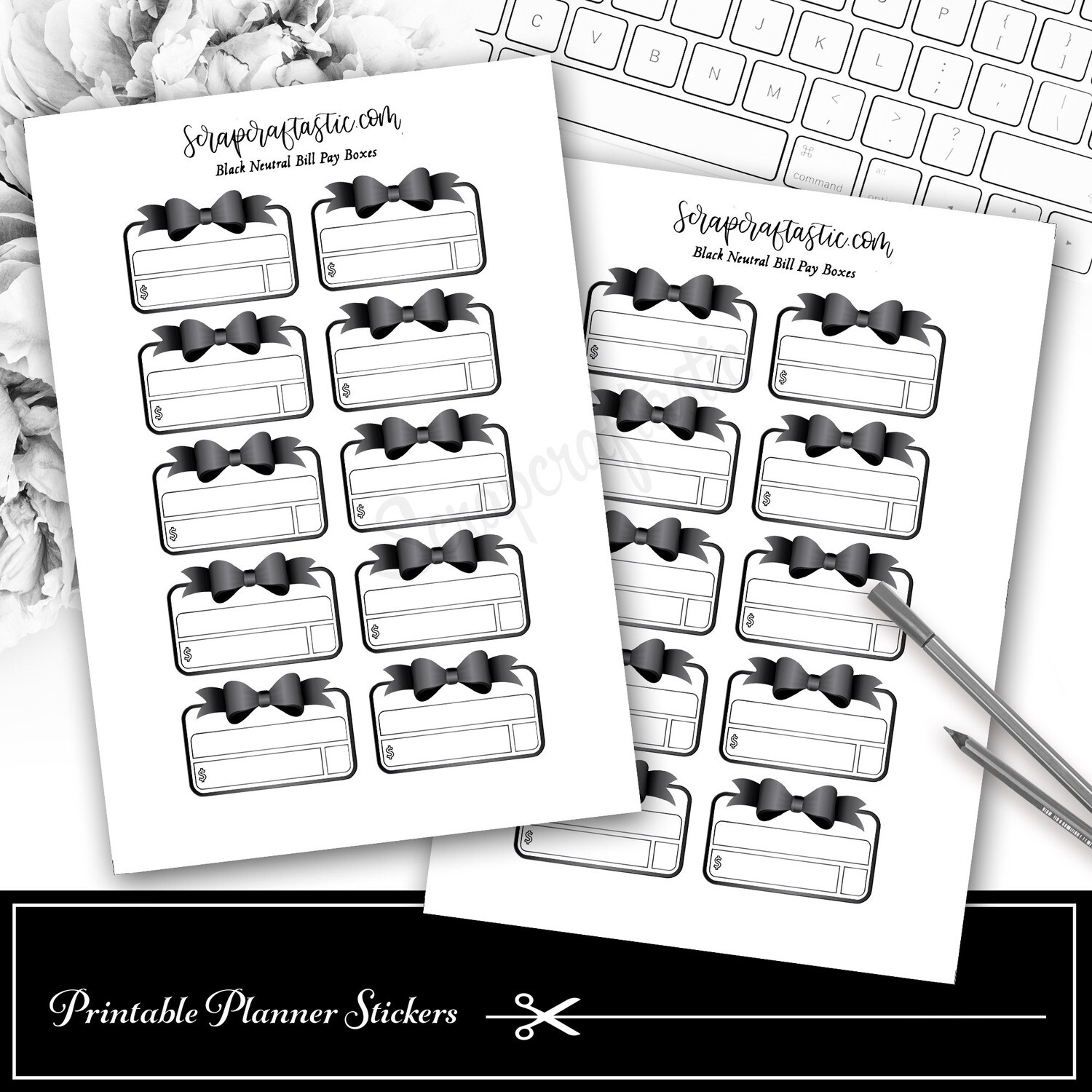 Neutral Metals Black Bow Bill Pay Budget Printable Planner Stickers