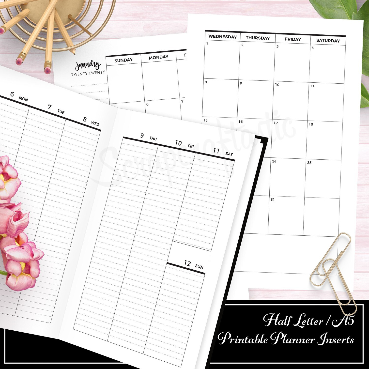 HALF LETTER A5 - January 2020 (WO2P) Dated Printable Planner Inserts