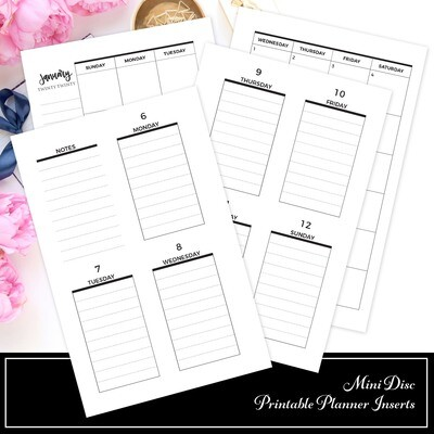 MINI DISC - January 2020 (WO2P) Dated Printable Planner Inserts