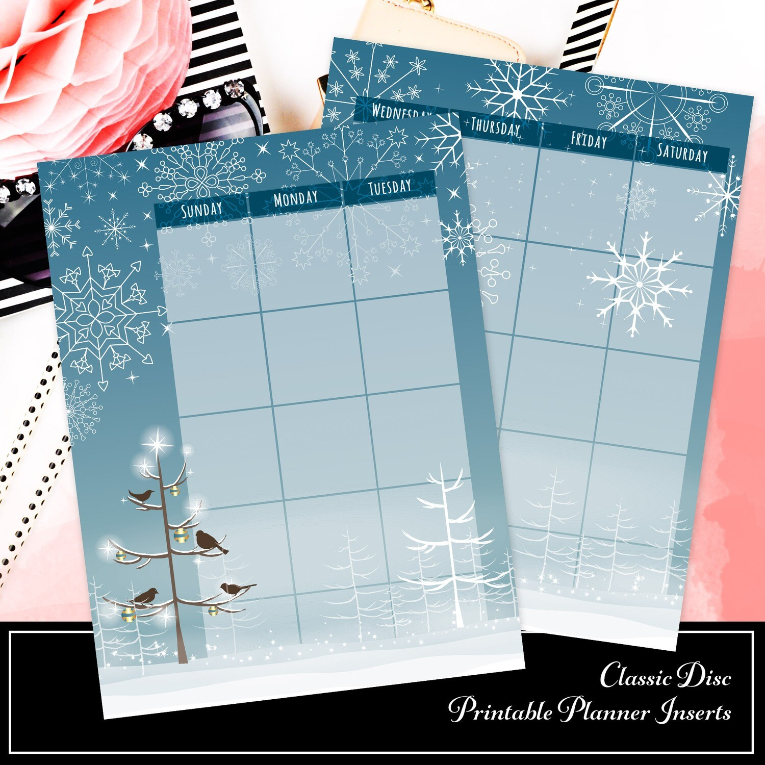 CLASSIC - Winter Monthly Printable Planner Insert
