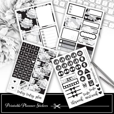 Basic Black Floral Mini Kit Printable Planner Stickers