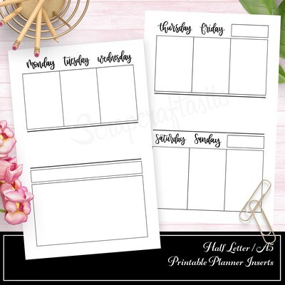 HALF LETTER A5 RINGS / 8 DISC - Deluxe Center Week on Two Pages (WO2P) Printable Planner Insert FOIL READY